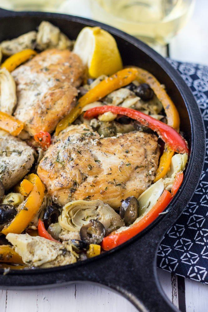 Whole30 compliant, paleo Greek chicken skillet