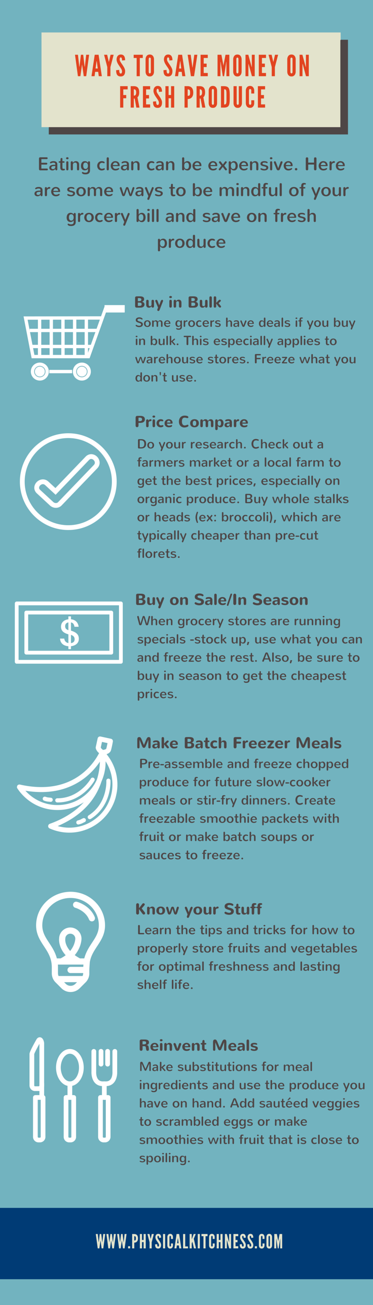 Follow these simple tips from Physical Kitchness to save money on produce and avoid waste