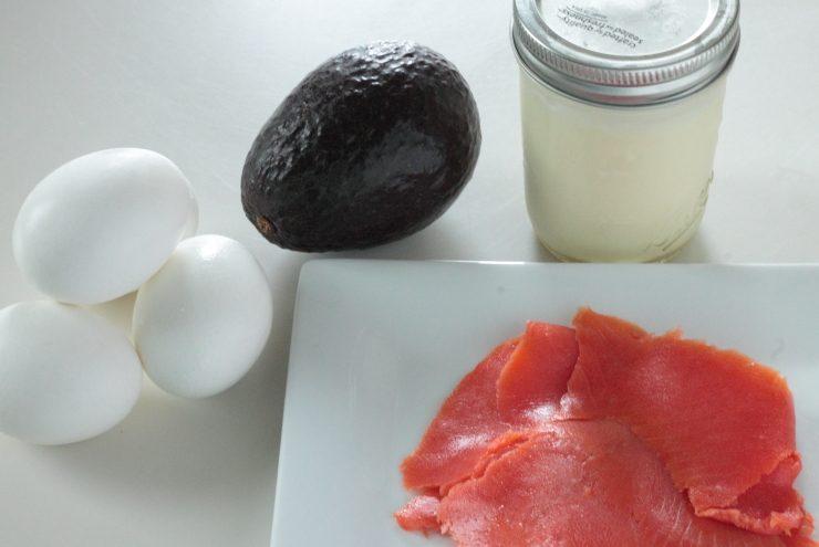 Ingredients for smoked salmon avocado deviled eggs