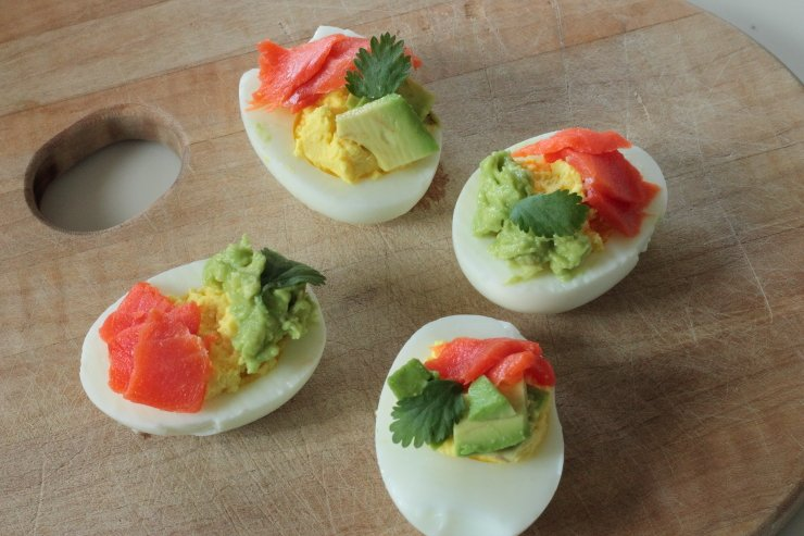 Smoked Salmon Avocado Deviled Eggs
