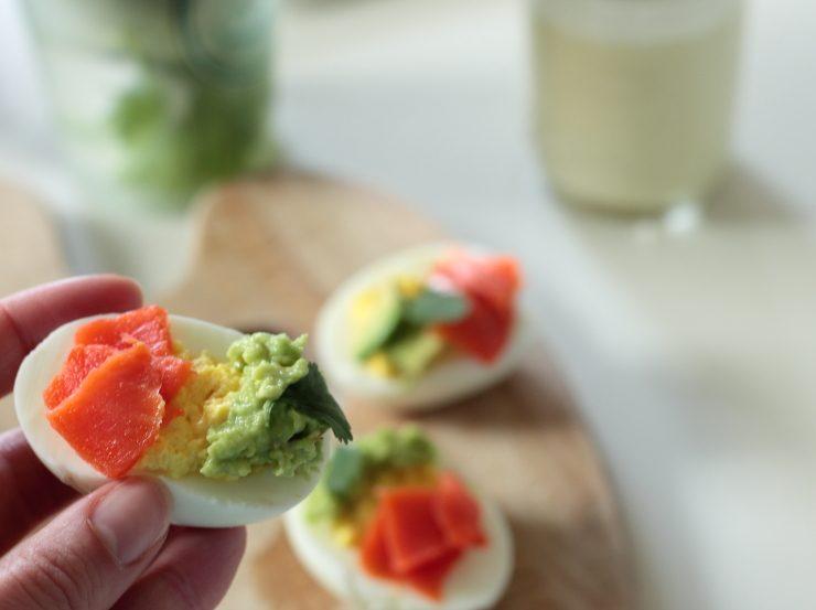 Light and refreshing smoked salmon avocado deviled eggs