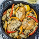 One pot, paleo Greek chicken skillet. Whole30 compliant