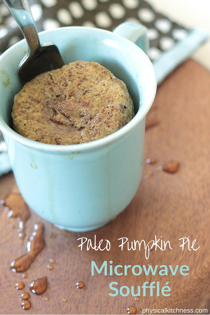 An easy, healthy, delicious breakfast - This Paleo, low-carb pumpkin pie microwave soufflé will be your fall favorite.