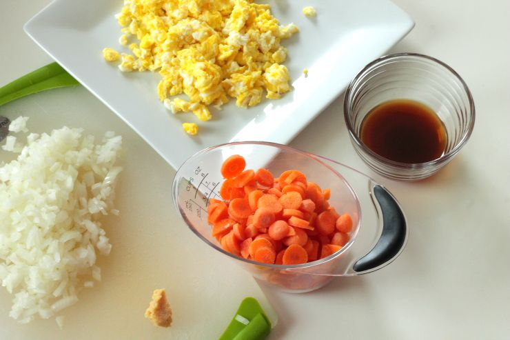 Ingredients for healthy, Paleo cauliflower fried rice