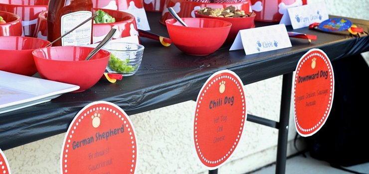 A traditional hot dog bar with healthy themed options