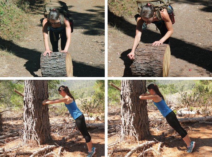 Maximizing your hiking workout with log rolls and vertical tree push-ups
