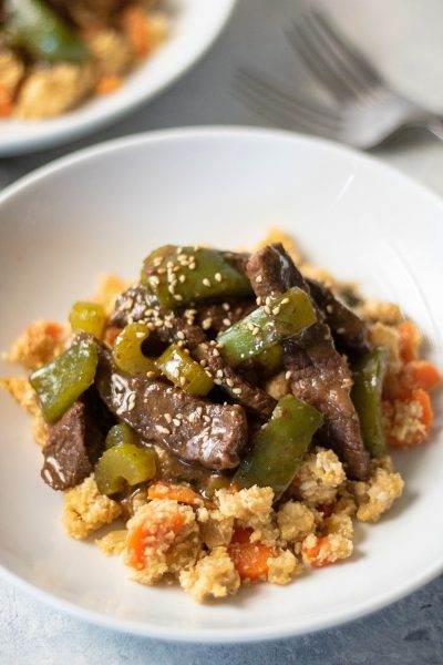 Paleo Green Pepper Steak over Fried Cauliflower Rice
