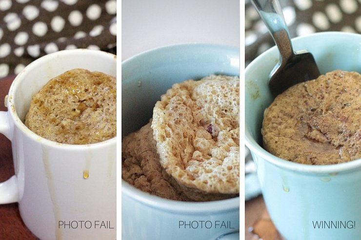 Food photography is tricky! Third times a charm for this paleo pumpkin pie microwave soufflé