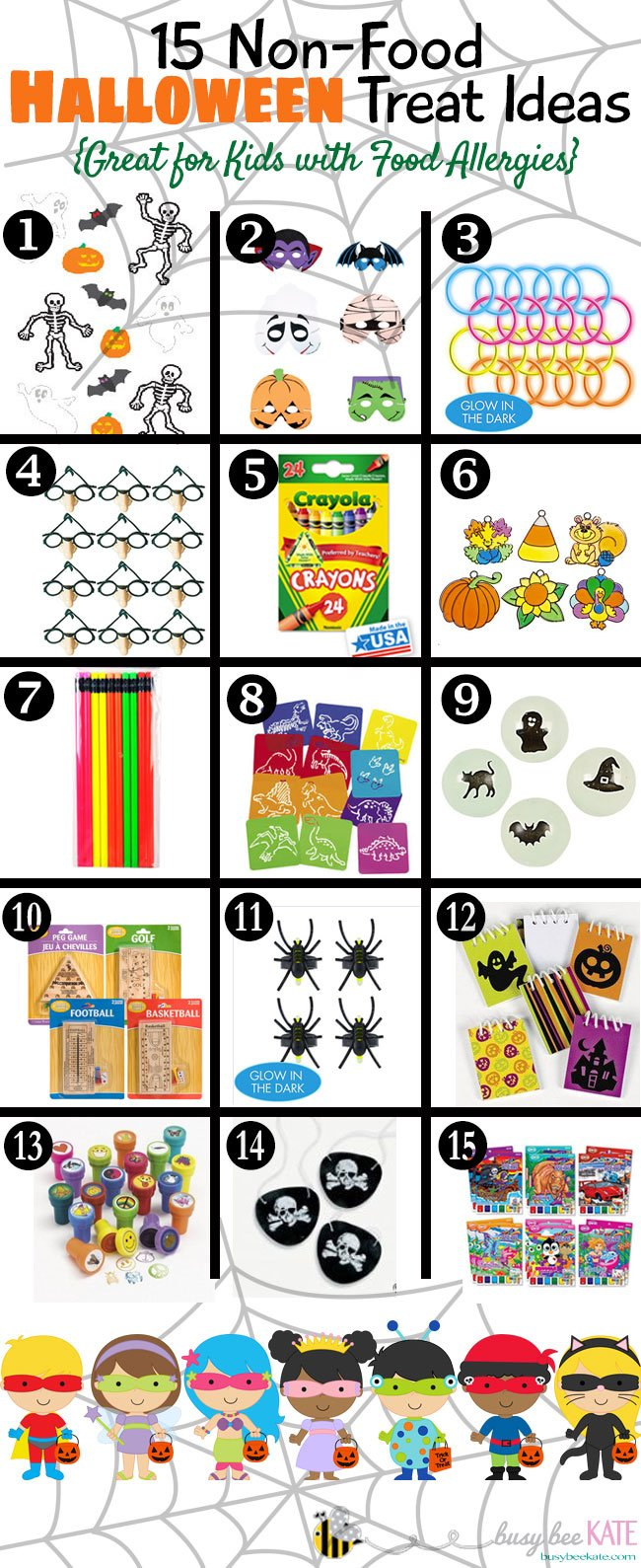 A great list of no-candy Halloween Treat for children with food allergies