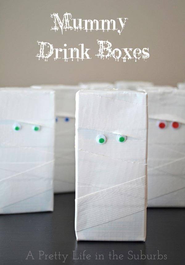 Healthy Trick or Treating Teal Pumpkin Ideas - Mummy Drink Boxes