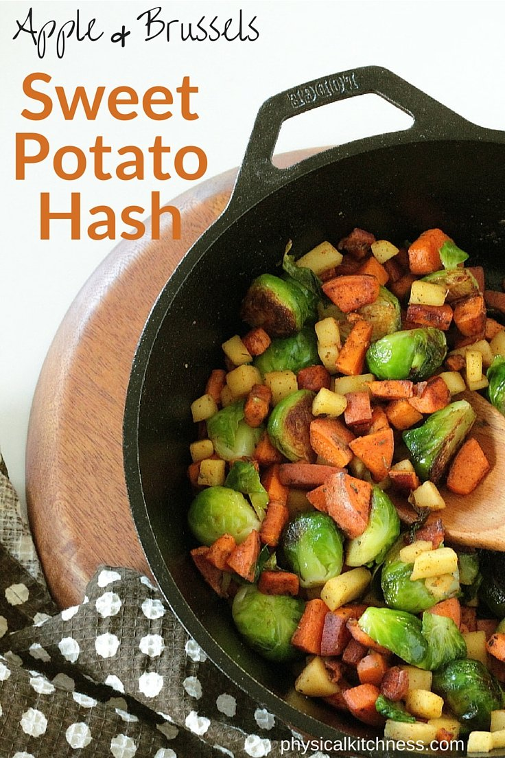 Caramelized brussels sprouts, sweet apples and cinnamon sweet potatoes make a delicious and easy paleo, vegan breakfast!