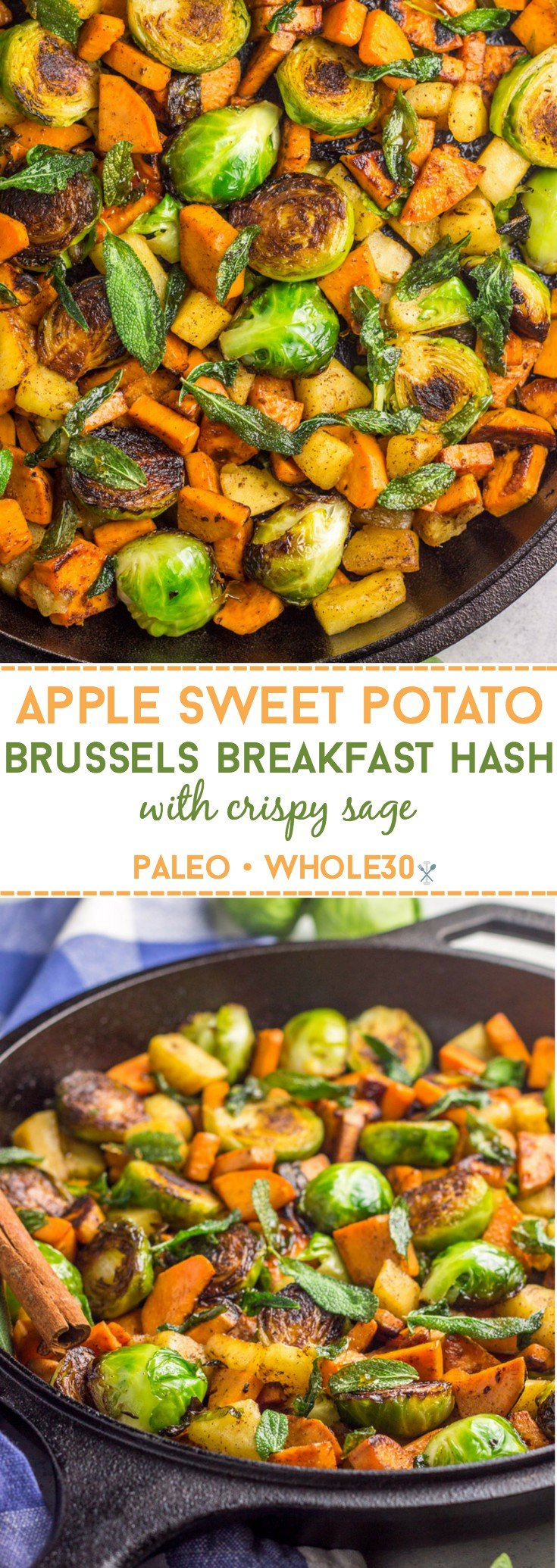 This paleo, Whole30 and vegan Apple Sweet Potato Brussels Breakfast Hash is the perfect healthy and hearty eggless skillet meal.