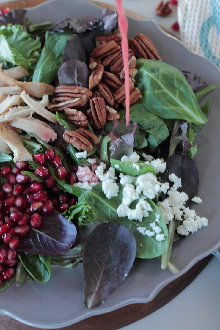 A sweet and healthy pomegranate vinaigrette makes this Autumn Cobb Salad to die for!
