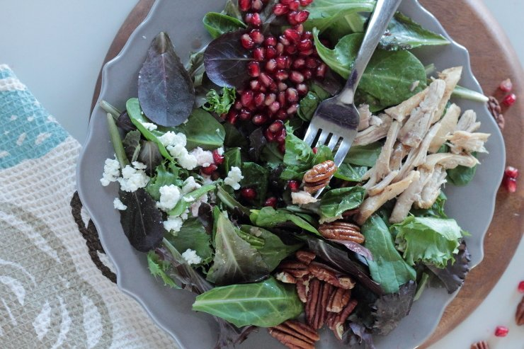 Pomegranates, goat cheese, shredded chicken and pomegranates make this salad a go-to fall treat. Topped with pomegranate vinaigrette.