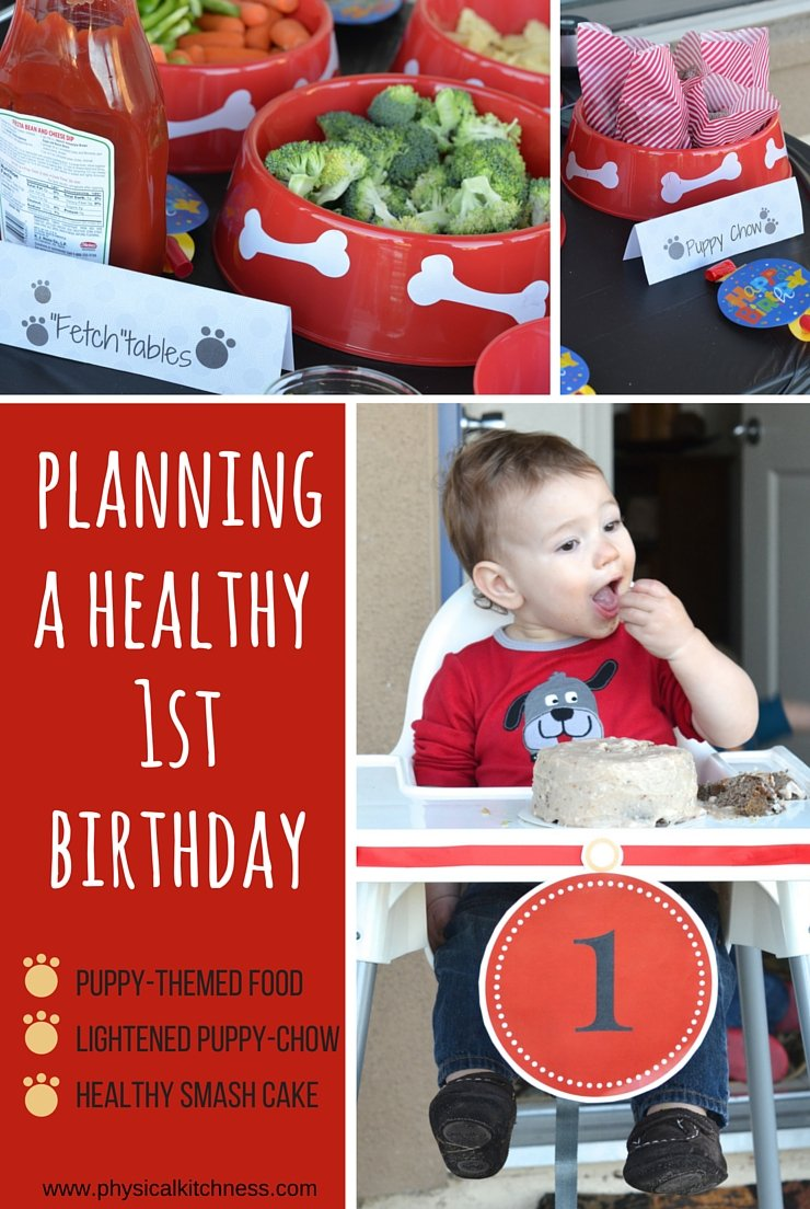 How I planned a puppy-themed 1st birthday with healthy hot dog bar options, lighted-up puppy chow and a homemade healthy smash cake.