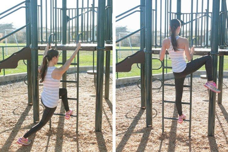 Playground Workout - Ladder Curtsey Raises