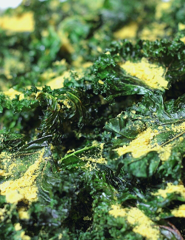 Kale chips sprinkled with salt & nutritional yeast will replace your favorite potato chips for a healthy snacking treat!