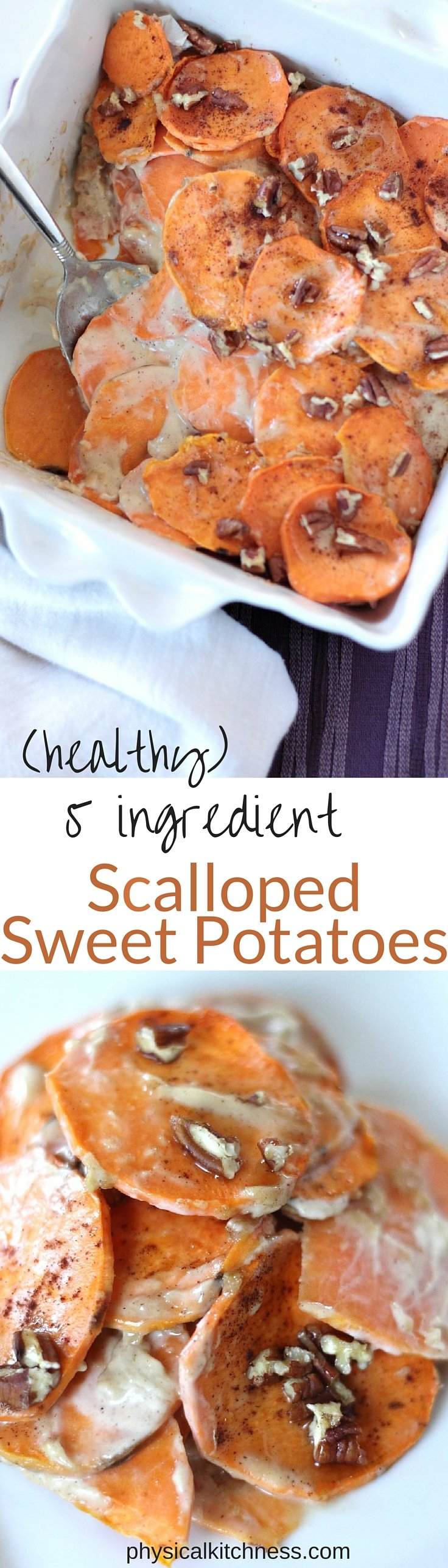 Healthy Scalloped Sweet Potatoes - Only 5 Ingredients! Plus they are Whole30 approved and vegan!