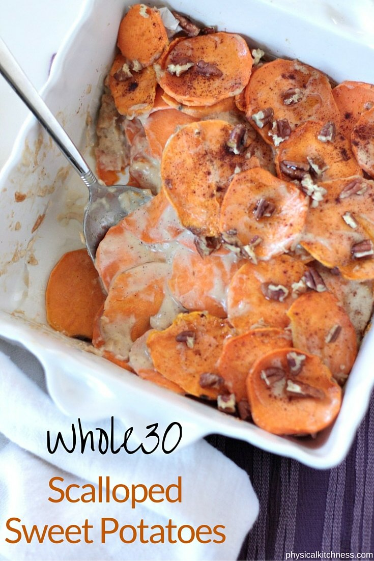 Perfect Whole30 Thanksgiving Dish! Scalloped Sweet Potatoes made with cashew cream.