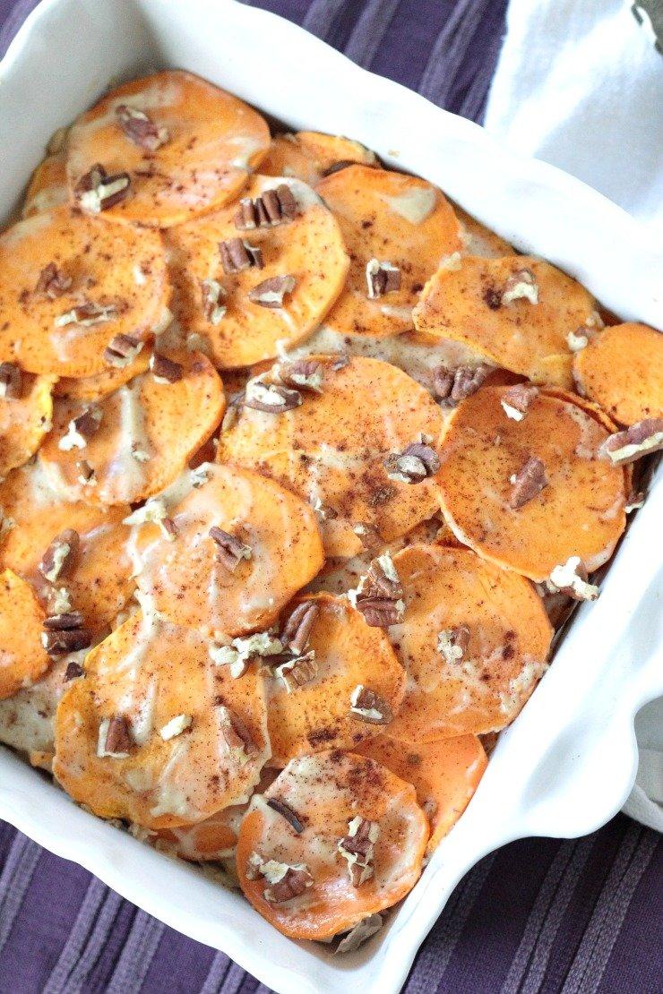 4-ingredient paleo and vegan scalloped sweet potatoes