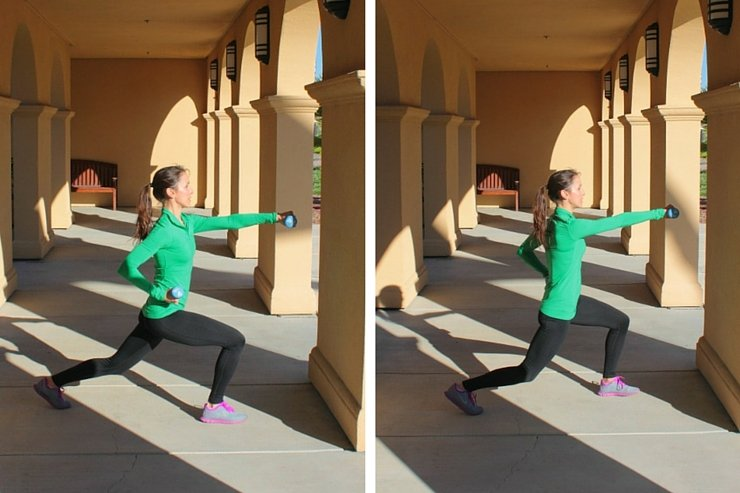 Plyometric lunges with alternating punches