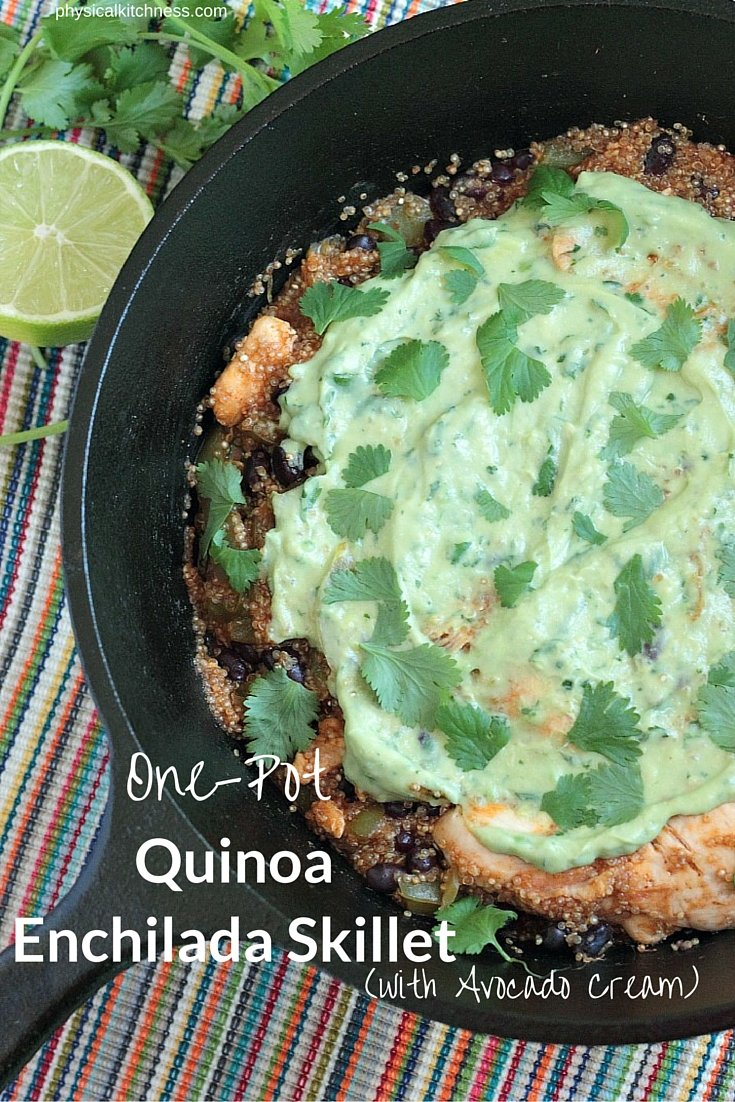Make a healthy, delicious, one-pot dinner in less than 30 minutes. Dairy free quinoa and chicken enchilada skillet with avocado cream sauce