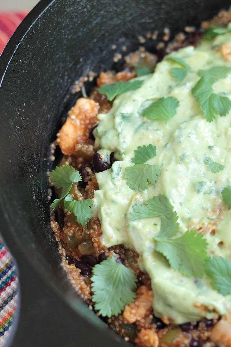 The avocado cream make this dairy-free and super healthy 30 minute meal your go-to enchilada dish!