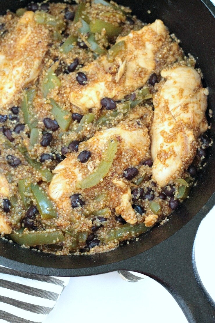 Chicken & Quinoa Enchilada Skillet Before Avocado Cream Topping