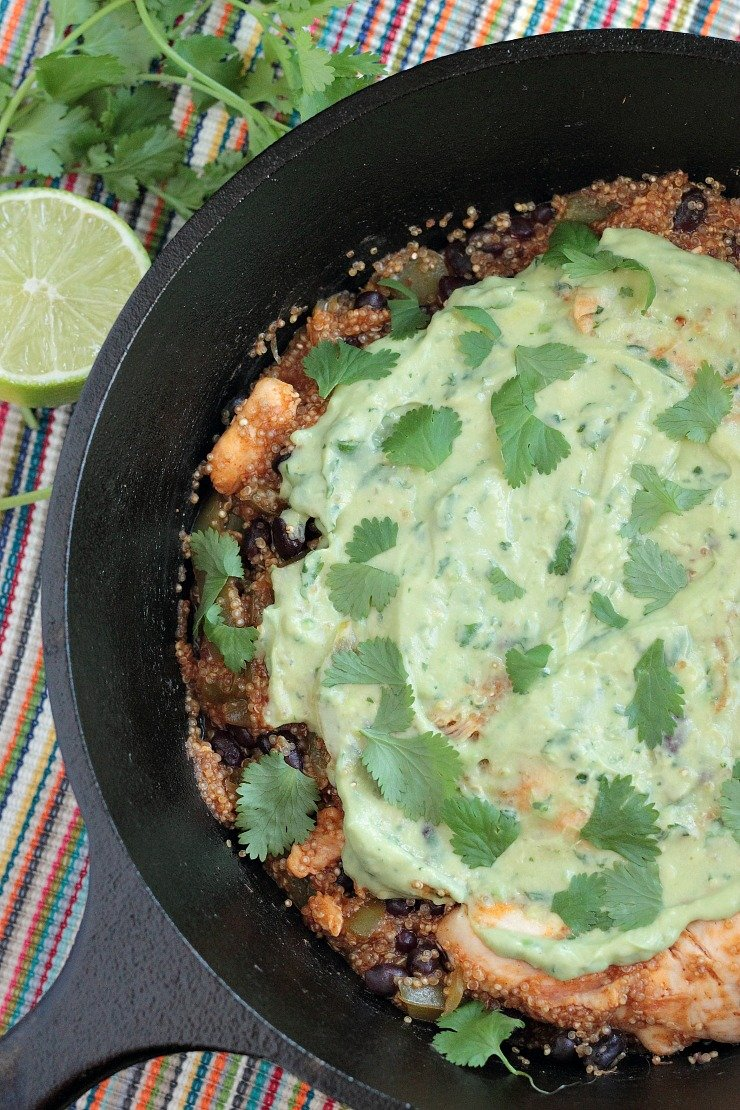 Chicken & Quinoa Enchilada Skillet with Avocado Cream. One-pot, dairy-free meal in less than 30 minutes