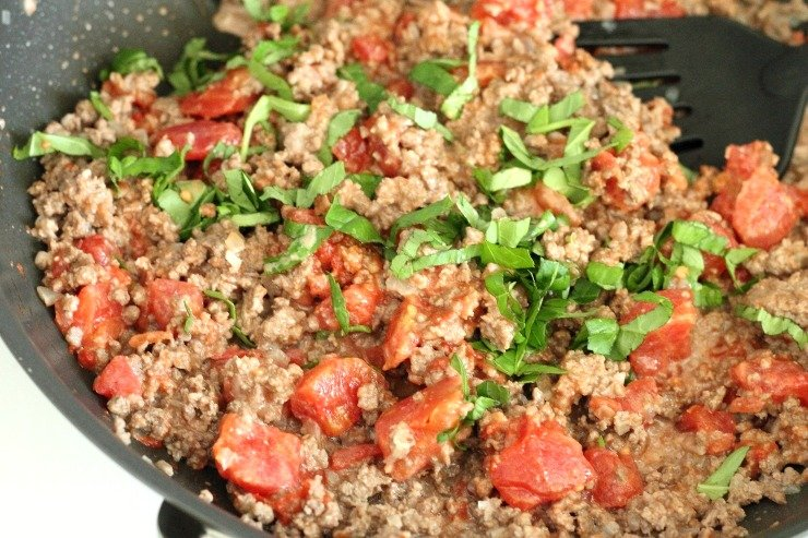 Ground beef with savory basil and tomatoes makes a hearty, one-pot paleo meal - Tomato Basil Beef Goulash