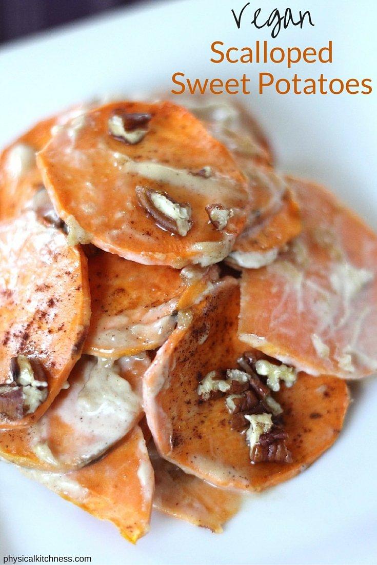 Sweet & Decadent, Dairy-Free, Vegan Scalloped Sweet Potatoes.