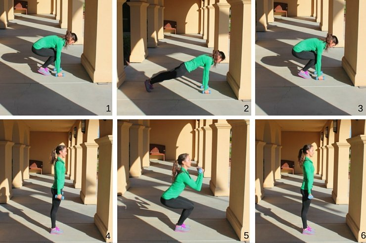 These burpee bicep curls are the perfect burnout move for this awesome HIIT workout with weights