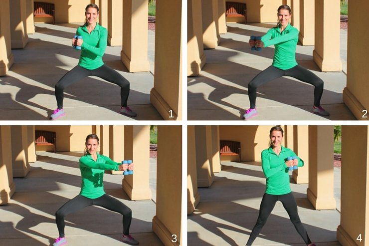 Inner thighs, booty, shoulders, and abs get a total workout with these HIIT moves with weights