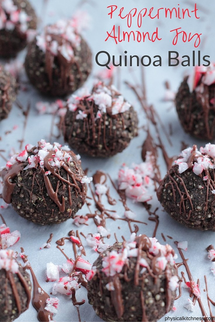 Hands down the best holiday treat. These light and healthy peppermint almond joy quinoa bites will rock your world with coconut, cocoa, and peppermint. AMAZING and pretty.