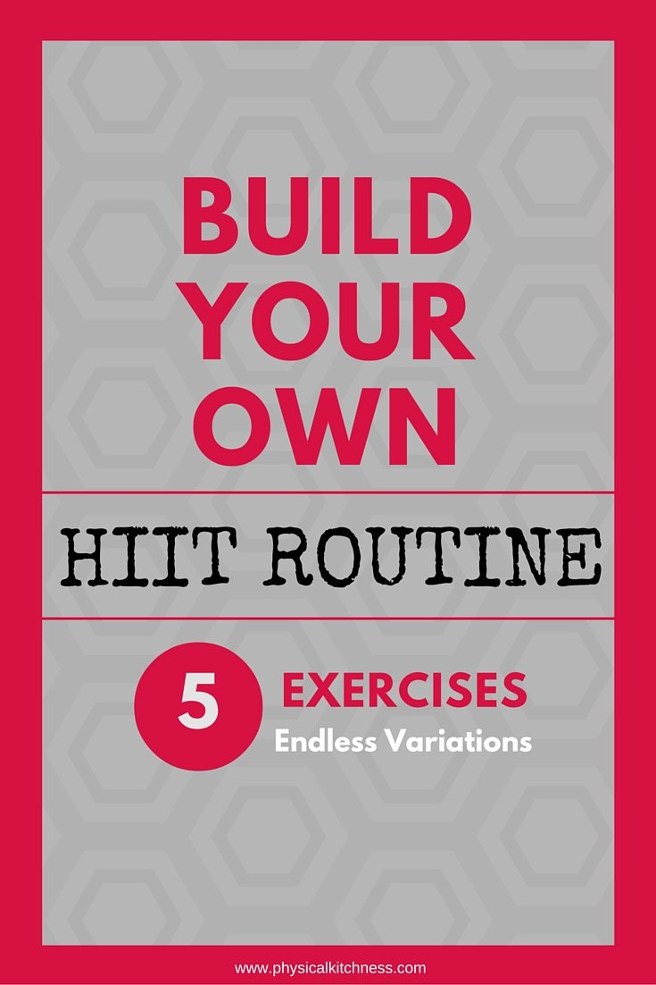 Build your own HIIT routine with these five classic high intensity exercises - burpees, butt kickers, jumping lunges, high knees, and squats!