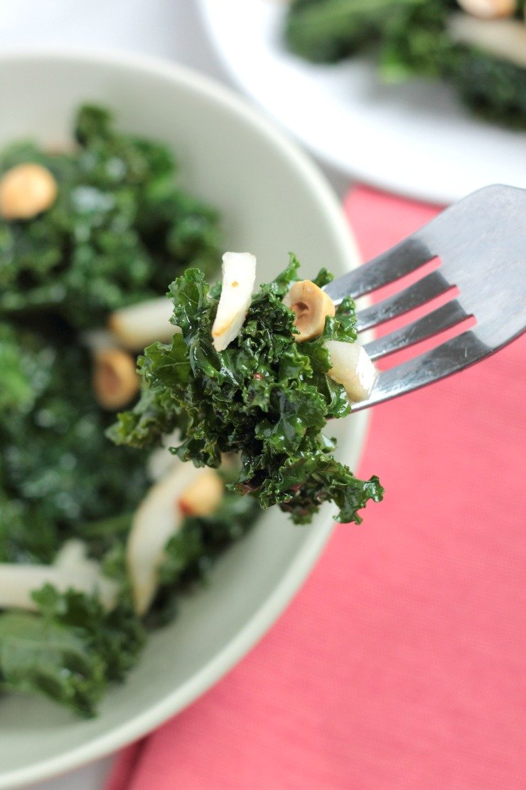 Crunchy and sweet - this warm kale salad has a maple dijon dressing that makes you crave it for breakfast, lunch, and dinner!