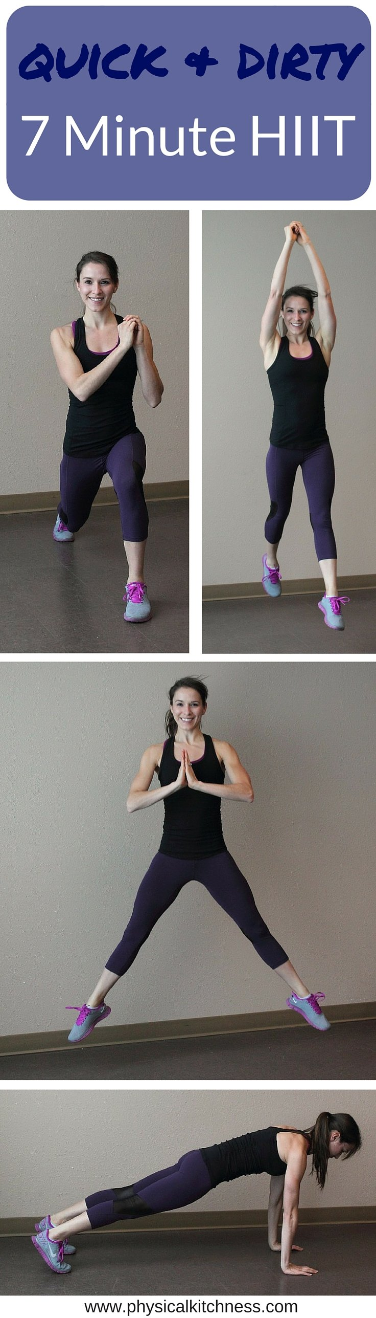 7 minutes is all you need for this quick and dirty HIIT workout. 3 moves, ultimate total body cardio workout!