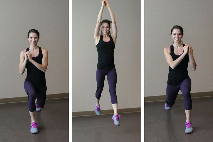 Alternating forward lunge jumps are the second move in this 7-minute quick and dirty HIIT workout
