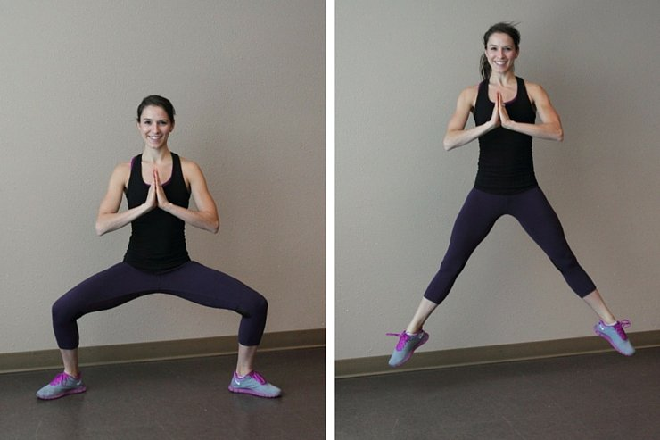 Wide squat jumps are the first in this 7-minute, quick and dirty HIIT workout