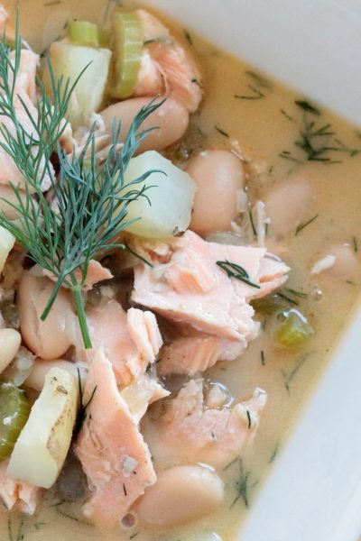 White Bean and Potato Salmon Chowder