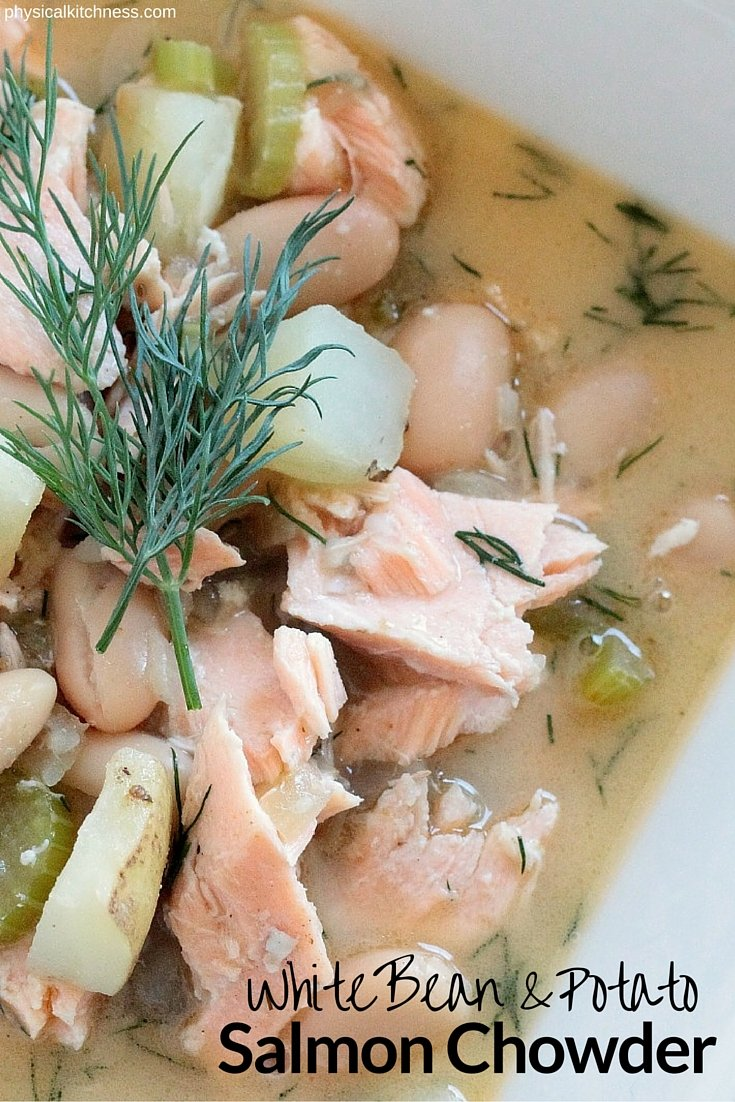 A hearty and healthy winter soup packed with omega-3 salmon! This healthy white bean and potato salmon chowder is gluten-free, dairy-free, and will be your new family favorite dinner