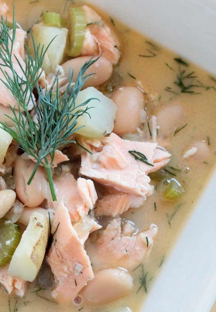 This salmon chowder has the most amazing flavor without the cream or calories. It even has suggestions for paleo substitutions! Fresh dill, salmon, hearty beans and potatoes complete this amazing soup.