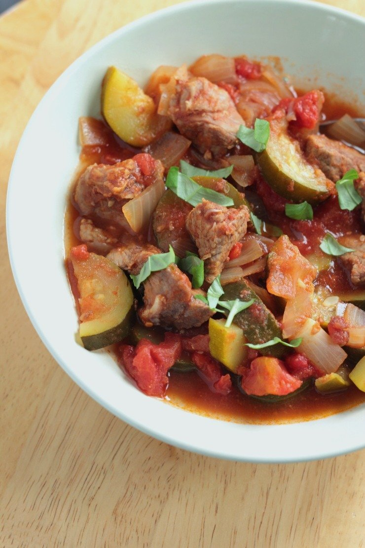 Five Whole30 Crockpot Meals in 5 Ingredients or Less - Beef Stew with Tomatoes and Zucchini