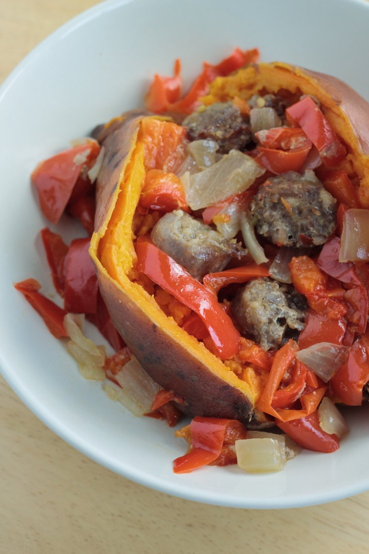 Five Whole30 Crockpot Meals in 5 Ingredients or Less - Sausage & Veggie Stuffed Sweet Potato