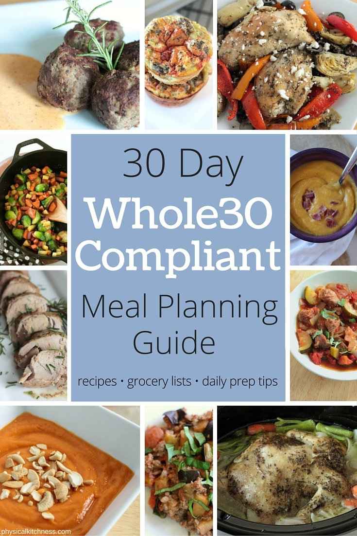 30 days of Whole30 Complaint Meals - a FREE meal planning guide with breakfast, lunch, and dinner recipes, weekly grocery lists, a planning outline, and daily meal prep tips. All the work planning for Whole30 done for you!