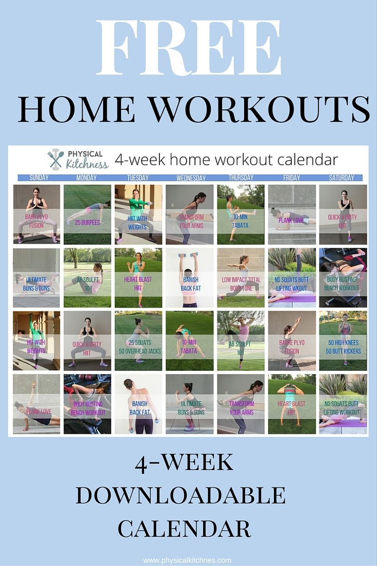 4 weeks of FREE workouts you can do from home. Each 30 minutes or less! Includes HIIT, Tabata, Abs, Butt, and more!