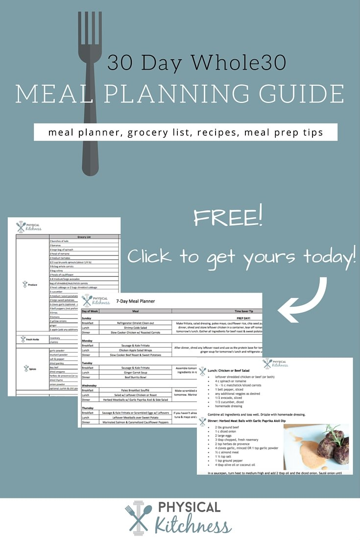 30 days of Whole30 meals, grocery lists, time saving prep tips, even an 'on the go' meal idea document. The entire package to get you through the Whole30 Challenge!