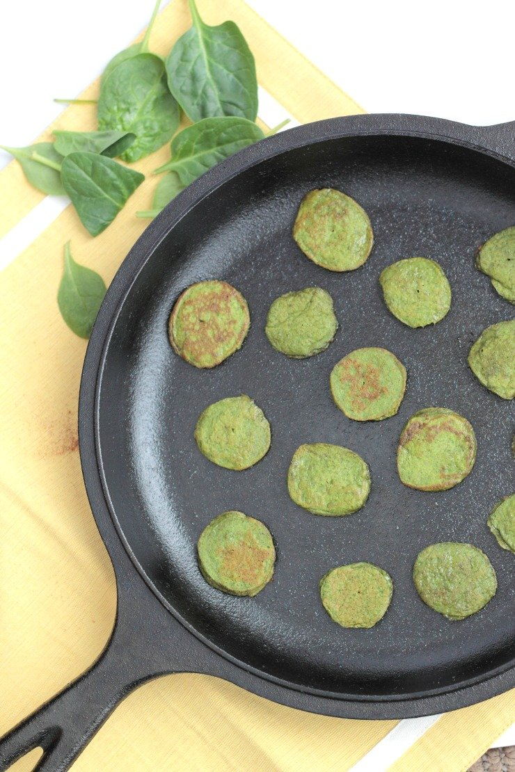 Gluten free and paleo spinach mini flapjacks. Perfect for baby led weaning
