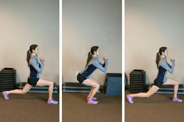 Low alternating lunges sculpt and tone to get legs of a track star!