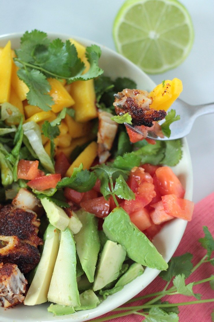 In just a few minutes, you can create the most amazing fish taco salad bowl you'll ever taste. Mixed with fresh cilantro, sweet mango, creamy avocado and a little lime to top, blackened fish never tasted so good with all these yummy pairings!